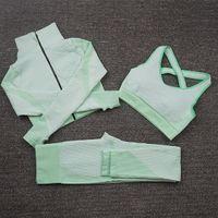 Fashion Designer Womens Cotton Yoga Suit Gymshark sportswear Tinesuits fitness sport usura 4 pezzi set 3pcs reggiseno leggings abiti palestra primaverile
