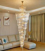 Moderne Kristall-Kronleuchter Villa Wohnzimmer hängende Lampen hohle einfache mittlere Etage Decke Gebäude leuchten luxus lange Kronleuchter Beleuchtung