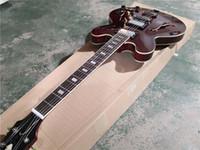 Livraison gratuite sur mesure 335 guitare électrique, guitare noir brun rouge, corps en érable semi creux, micros LP, chrome matériel, bouton de jade imitation