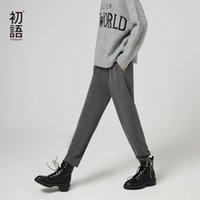 Pantalones de longitud de tobillo de otoño de Toyouth para mujeres con pantalones de cintura altos invierno hembra ocasional tobillo longitud de moda pantalones largos de oficina 201104