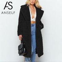 3XL PLUS Размер искусственного шуба пальто женщин 2020 осень зимнее пальто сплошной цвет открытые передние карманы пушистые длинные верхней одежды куртка женский TOP1