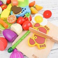 Corte de madera Cocina Conjunto de alimentos Magnético Madera Vegetal Fruta Pretenda para jugar Kit de cocina Juguete Regalo Y200428