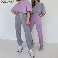 Dgluke Joggers Frauen Sweatpants Mode Frühling Sommer Kordelzug Hohe Taille Jogging Hosen Massive Baumwolle Lässige Hose Hip Hop