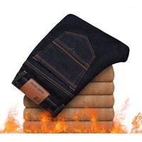 Yihaifa 2020 Kış Yeni erkek Sıcak Kot Iş Rahat Esneklik Kalın Ince Denim Pantolon Pantolon Artı Boyutu 38 401