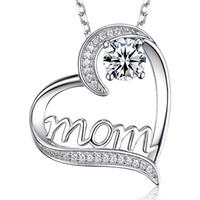 الماس القلب أمي قلادة الحب قلادة الأزياء والمجوهرات هدية عيد الأم والرمل