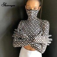 T-shirt imprimé de léopard Skennye avec masque Femmes manches longues Gants de mode à manches longues Chic Casual Crop Tops Bormon Harajuku Shirt