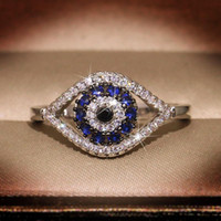 Punk Weiblicher Blue Kristallstein-Ring-Charme Zircon-Silber-Farben-Hochzeits-Ringe für Frauen Dainty Blicks-Hohlverlobungsring