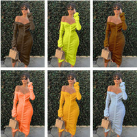 Europe and America Autumn And Winter 2020 new fashion women's off shoulder long sleeve medium length solid color drawstring dress for women