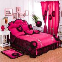 100% algodón de lujo encaje diente de cama juego de cama doble reina king tamaño 3/4/6 / 8pcs edredón edredón conjunto camas kidskirt pillowcases cortina T200706