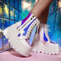 2020 nouvelles bottes de la plate-forme de femmes de la nouvelle femme de la mode Mode colorée dames Croîchements Bottines Bottines Femmes Talons High Talons Femmes Chaussures Chaussures Mode Ados adolescents