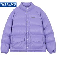 2020 Winter Thick PU Parkas Jackets Streetwear Hip Hop Solid Color Cotton Padded Jacket Coats Harajuku Warm Tops Outwear WY356