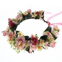 Saç Aksesuarları Toptan Gül Çiçekler Taç Festivali Kafa Kadın Headdress Nedime Kız Çiçek Garland Düğün Şapkalar