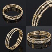 Bracelet strass femme pleine de diamant coeur d'amour Trois lignes main Bracelets manchette plaqué or Bracelet 8 9yf G2B
