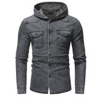 Camisa de moda para hombre algodón manga llena con capucha camisa de demina hombre casual calle streetwear pecho diseño de bolsillo vaquero