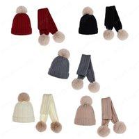 Bambini Cappello di lana Sciarpa 2 pezzi Set inverno caldo scherza la protezione della ragazza del neonato pelliccia sintetica pompon morbida Hat Sciarpe