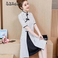 Vêtements ethniques Élégant Vintage Vintage Polka Blanc Amélioré Chinois Robe Chinoise Qipao Partie traditionnelle Daily Girl Qi Pao 2021 Summer1