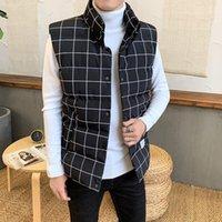Anbican Fashion Black Plaid e Striped Stand Collar Inverno Inverno inverno Cappotto gilet slim fit sleeveless gilet giacca1