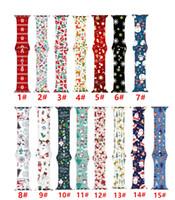 HOT Silikon Weihnachten Ersatz-Bänder für iWatch Serie 6 5 4 3 2 38 / 40mm 42 / 44mm Weihnachtsmuster Printed Smart Apple-Uhrenarmband