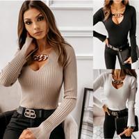 Kazak Seksi Yeni Bayan V Yaka Metal Kış Sonbahar Kazak Uzun Kollu Sıcak Baz Giyim Boyut S-2XL tutun