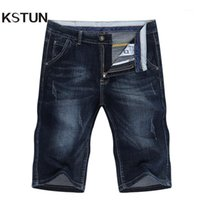 Jeans pour hommes Kstun Summer Shorts Hommes Denim Pantalons Stretch Bleu Dark Blue Design Slim Holle Homme Short Hombre1