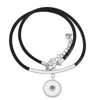 قلادة القلائد DJ0010 الأزياء سحر بسيط أسود الجلود سلسلة المفاجئة قلادة 45 سنتيمتر صالح diy 18 ملليمتر أزرار مجوهرات بالجملة