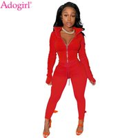 Adogirl Kadınlar Katı Iki Parçalı Set Standı Yaka Eldiven Uzun Kollu Fermuar Kısa Ceket Üst Kalem Pantolon Moda Eşofman