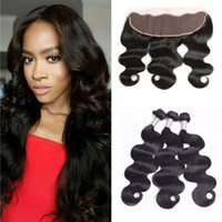 Brasileño Body Wave Hair 3 paquetes con encaje Frontals Cierres Swiss Lace 100% Humano Remy Hair Natural Hairline