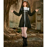 새로운 할로윈 의상 성인 코스프레 수녀 검은 색과 흰색 레이스 긴 소매 드레스