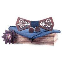 Arco laços 3d bolso quadrado gravata de madeira conjunto mão lenço bufflink brocha para homens presente do pescoço do casamento com presentes de madeira da festa da caixa