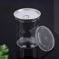 485 ml 85 * 100mm Klarer Kunststoff Jar-Haustier mit Zug Ring Metalldeckel Luftdicht Blechdose Lebensmittel Kräuterbehälter Packung Ozean