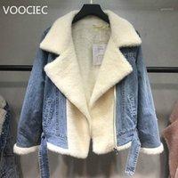 Voociec primavera outono inverno novo 2020 mulheres lambswool jean casaco com cinto mangas compridas quente jeans casaco outwear largo denim jaqueta1