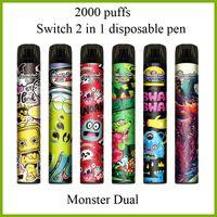 Switch 2 en 1 Cigarette électronique Monster Dual 2000 Puffs Vape jetables avec des pods de 6,0 ml