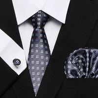 2020 s de los hombres del lazo 100% Conjuntos de seda jacquard tejida corbata pañuelo de las mancuernas para la boda formal del partido de negocios corbata traje ancho 7.5cm