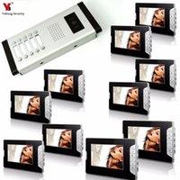 """Yobang Güvenlik Kablolu 7"""" Görüntülü Kapı Telefonu Görüntülü Kapı Giriş Sistemi İnterkom Kapı zili Ev Güvenlik 10 Birim Daire interkom Kiti"""