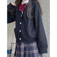 Japon Kızlar Loli V Yaka JK Üniformaları Sevimli Tatlı Kazak Ceketler Hırka Kadınlar Öğrenci Okul Koleji Tarzı Cosplay Kostümleri1