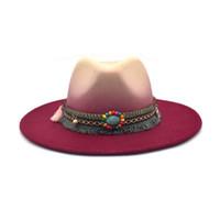 FUODRAO المرأة التعادل صبغ فيدورا قبعة الشتاء الصوف بنما كبير بريم رعاة البقر جاز كاب الرجال متدرجة اللون الرامي القبعات D11