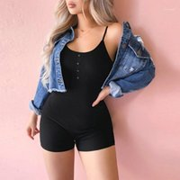 Frauen Playsuits Sommer Mode Casual Slim-passende Festfarbe Gestrickte Overall Sexy Slim U-Ausschnitt Backless Sling Rompers1