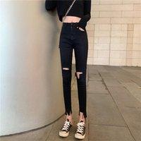 2020 nuevos pantalones de dril de algodón de las mujeres rasgadas flacas alto estiramiento de la cintura raer Jeans delgado del lápiz pantalones de la manera ropa de calle L259