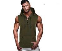 Camicie Casual con cappuccio senza maniche Tees Sexy Bandaggio Abbigliamento da uomo traspirante 21FW Fashion Soild Colour Mens T T
