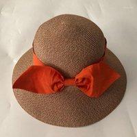 Zjbechmu moda nova arco sólido palha palha chapéus para mulheres menina boné de verão ao ar livre feriado feriado praia dobrável sol chapéu fedoras1