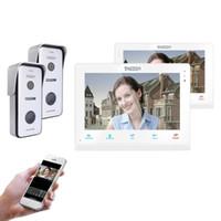 TMEZON اللاسلكية / واي فاي الذكية IP فيديو نظام الاتصال الداخلي الجرس، و 10 بوصة + 7 بوصة وشاشات مع 2x720P السلكية باب كاميرا الهاتف