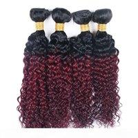 Kinky Curly 4 Bundles T 1B 99J Ombre Dark Wine Rouge Deux Ton Couleur Consommable Vierge Brésilienne Vierge Human Hair Weave 4 Bundles Extension