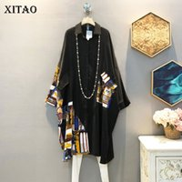 Xitao Coréen Style Plus Taille Table De Chemise Fashion Vintage Vintage Patchwork Femmes Tops Tendance Bat Manches Tops et Blouses XJ4754 201126