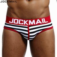 JOCKMAIL марка нижнего белья мужчины хлопок Sexy полосатые мужчин бикини трусы cuecas calzoncillos Hombre скольжения Гей белье мужские трусы g1CM #