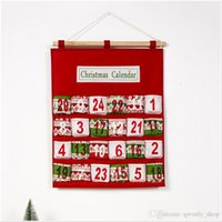 Red Christmas Advent Calendar Wall Hanging Xmas Ornament Pri...