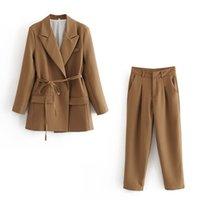 ZXQJ элегантные женщины высокого качества коричневый костюм набор винтажных моды дамы хлопковые куртки случайные женские мягкие костюмы девушки шикарные 201006