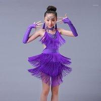 Sahne Giyim Profesyonel Kız Latin Dans Mor Saçak Salsa Dans Elbise Çocuk Kız Çocuklar Elbiseler Kostümler1