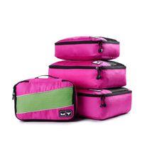 Soperwillton 4 Piece Установить высококачественный чемодан Организатор Путешествия Упаковка Кубин Нейлон Дышащие Мужчины Женщины Организатор Багажа Куб Компл. T200710