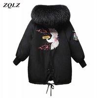 Brasão ZQLZ Inverno Mulheres New Bordado Casual encapuçado da pele Loose longo Parka Mujer quente grossa Overcoat Moda Jacket 201006