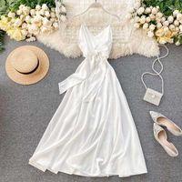 Ftlzz mulheres backless vestido boêmio verão sexy v pescoço faixas vestido sem mangas espaguete cinta praia branca vestido1